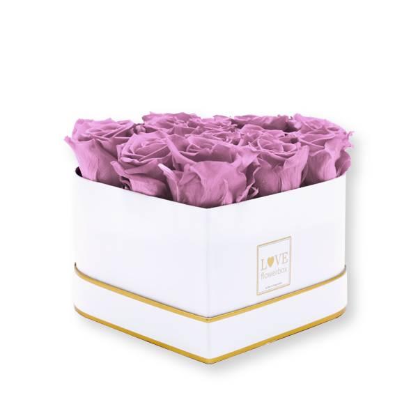 Rosenbox Herz Infinity Rosen altrosa | Flowerbox Herzbox | M white gold
