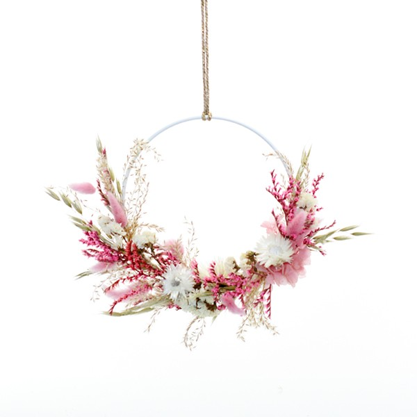 Trockenblumenkranz | Hoop | Traumfarben | gold 18 cm | Trockenblumen rosa, weiß, natur, pink