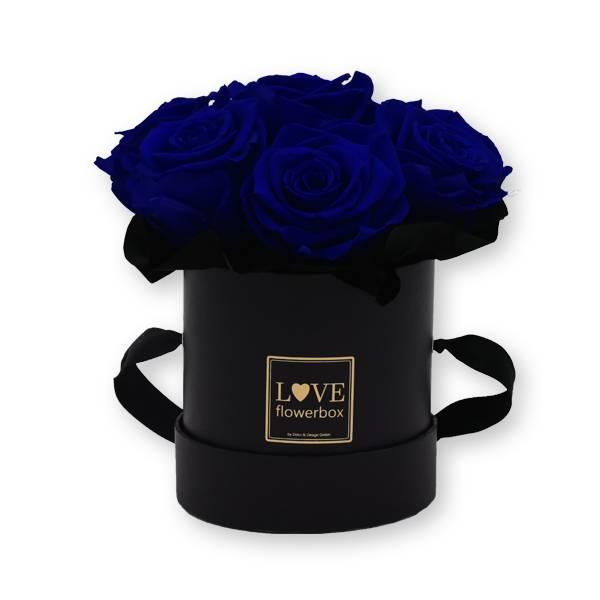 Flowerbox_rosenbox_blumenbox_rund_Small_schwarz_gold_Bouquet_Infinity_Rosen_DarkBlue_dunkelblau.jpg