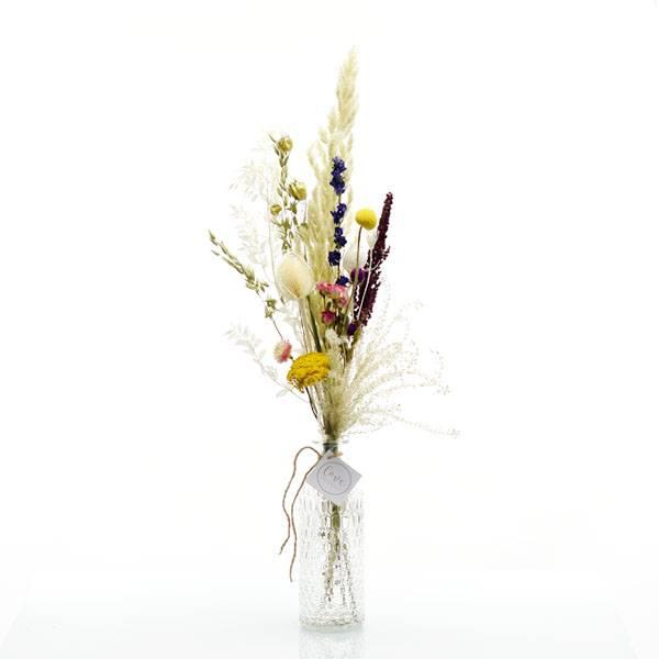 Trockenblumenstrauß Sommerwiese mit Flaschenvase | wiesen bunt