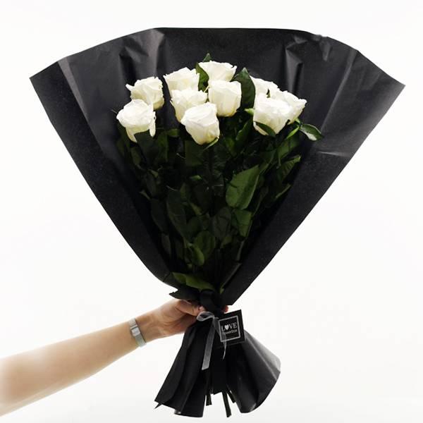 Rosenstrauß | Blumenstrauß mit 10 langstieligen Infinity Rosen | Weiss