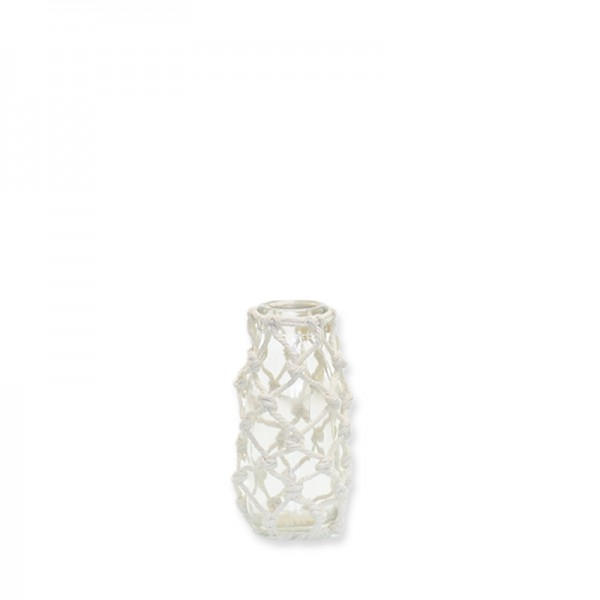 Vase Makramee | Glas mit Makramee natur | 10,5cm