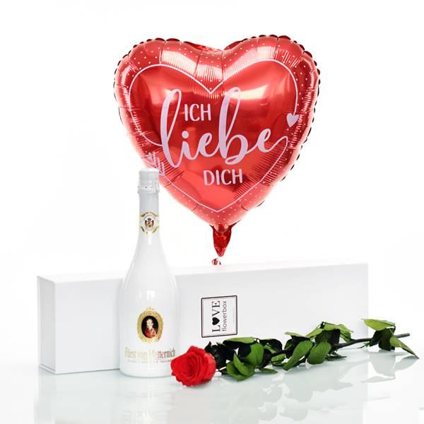 Flowerbox Set Langstiel Rose | Rosen Vibrant Red | Heliumballon | Sekt