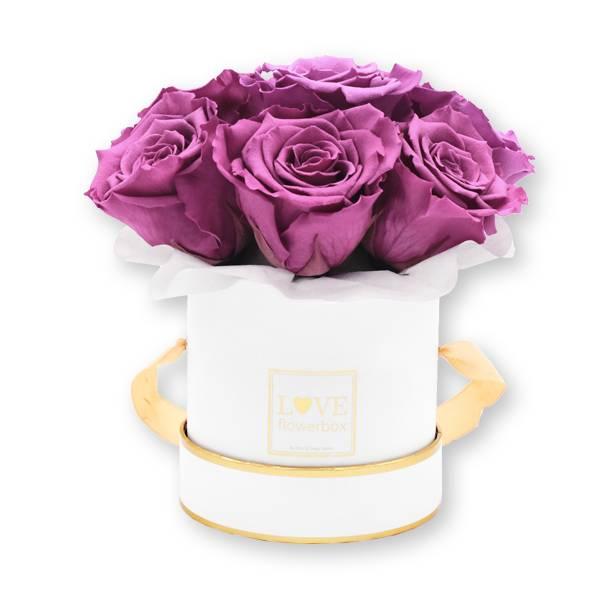 Flowerbox Bouquet gold | Small | Rosen Mauve (Altrosa)