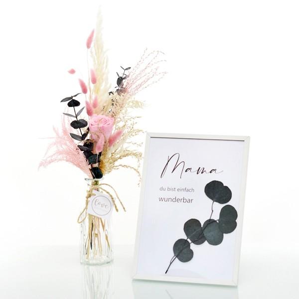 Geschenkeset mit Strauß Zarte Liebe und Bilderrahmen mit Spruch Mama und gepressten Blumen