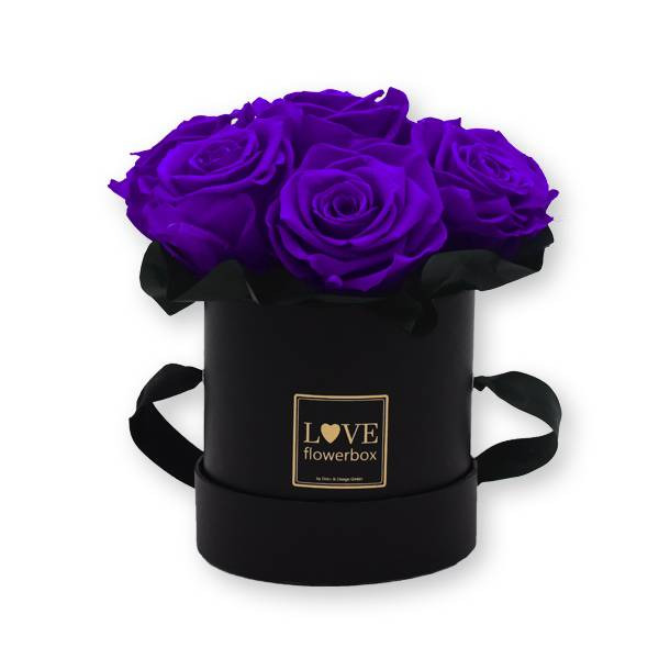 Flowerbox Bouquet gold | Small | Rosen Lilac (Dunkellila)