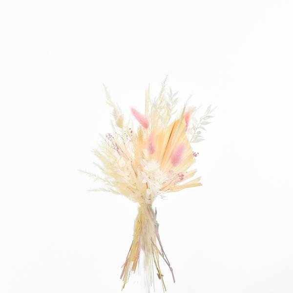 Trockenblumenstrauß Zartliebe S | weiss-ivory-natur-rosa | Pampas, Luffa, Lagurus