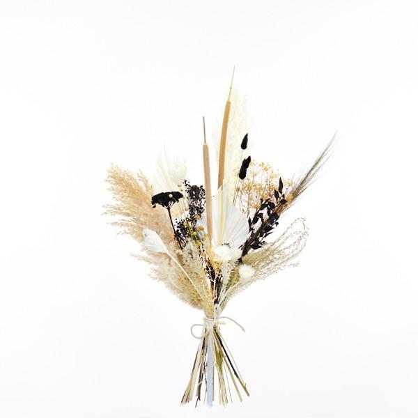 Trockenblumenstrauß Naturliebe M | Trockenblumen weiss-natur-schwarz-gold