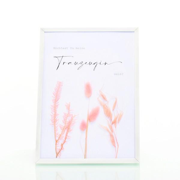 Trockenblumen Bilderrahmen weiß   Spruch Trauzeugin   Lagurus Regenschirmfarn Hafer