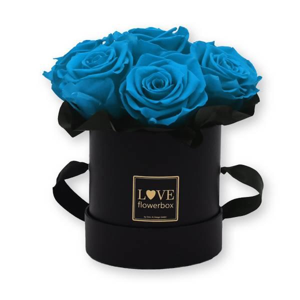 Flowerbox_rosenbox_blumenbox_rund_Small_schwarz_gold_Bouquet_Infinity_Rosen_aqua_tuerkis.jpg