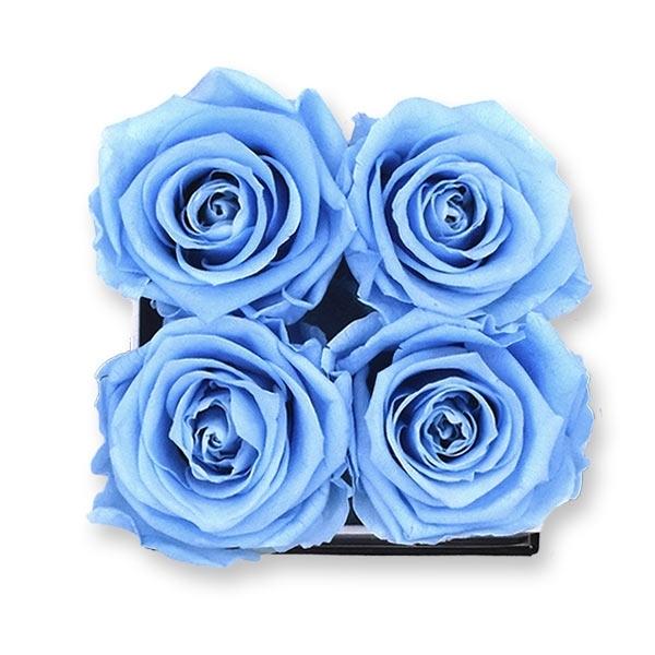 Rosenbox Infinity Rosen hell blau   Flowerbox eckig   S Modern black