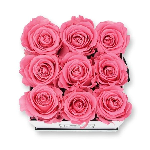 Rosenbox Infinity Rosen baby rosa | Flowerbox eckig | M Modern white