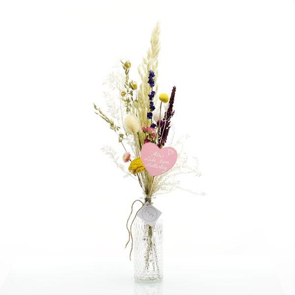 Trockenblumenstrauß Sommerwiese mit Flaschenvase | wiesen bunt Muttertag