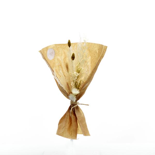 Trockenblumenstrauß Goldene Eleganz S | Trockenblumen weiss-gold