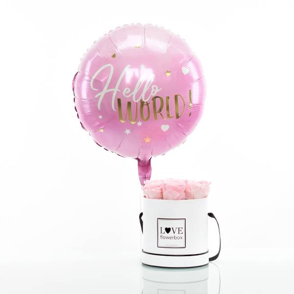 Flowerbox Set Modern   Medium   Rosen Bridal Pink   Heliumballon