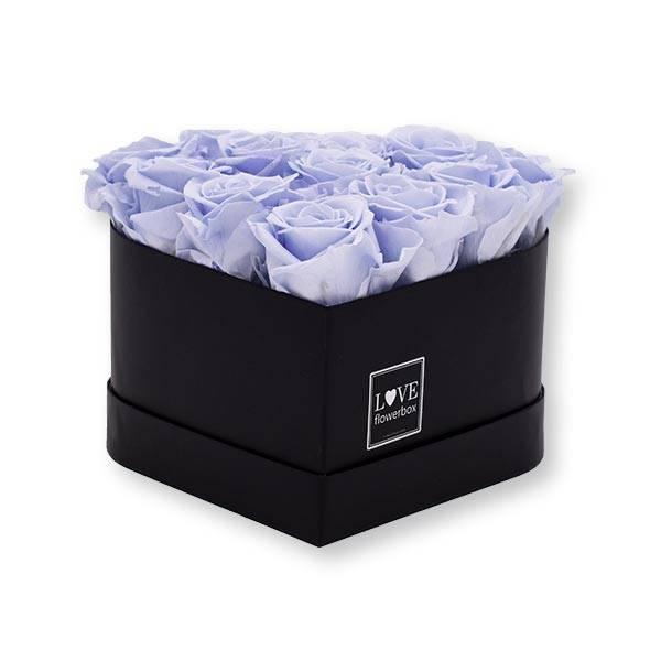Flowerbox Herz   Medium   Rosen Cool Lavender (Eisblau)