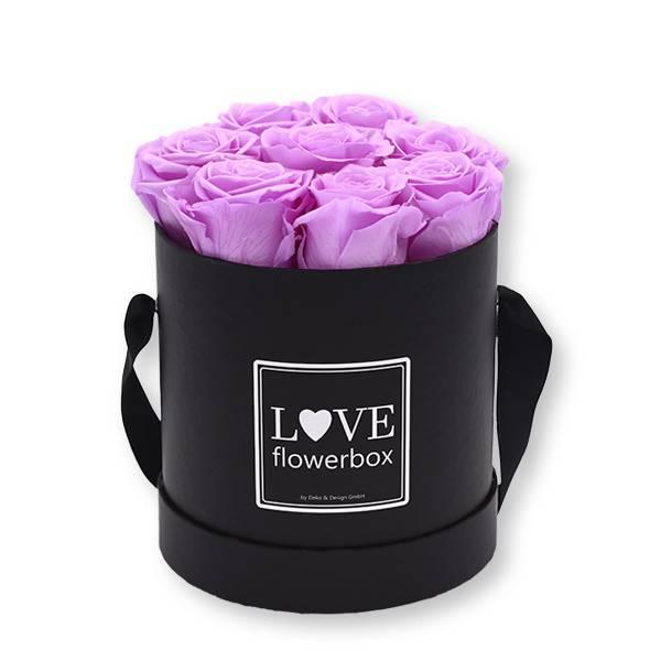 Flowerbox_rosenbox_blumenbox_rund_Medium_schwarz_Infinity_Rosen_babylili_flieder.jpg