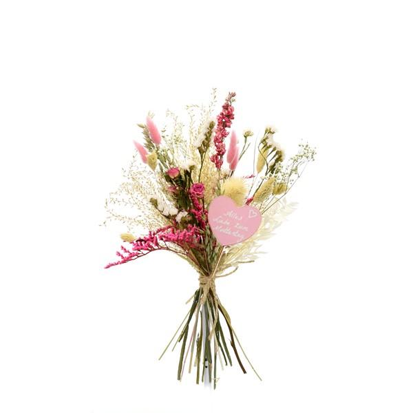 Muttertagsgeschenk Trockenblumenstrauß Traumfarben M | Trockenblumen weiss-rosa-pink | Pampasgras, Rittersporn, Rosen