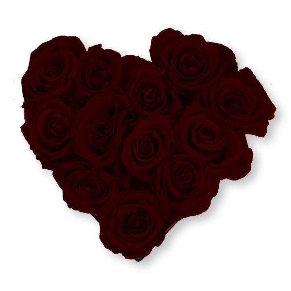 Rosenbox Herz Infinity Rosen bordeaux | Flowerbox Herzbox | M black