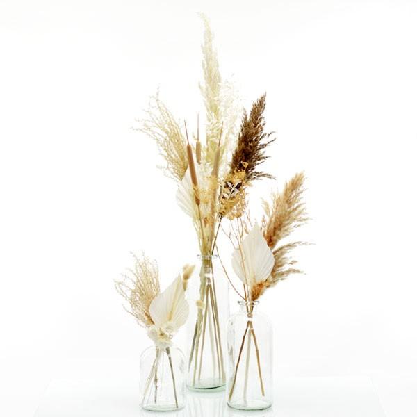 Trockenblumenstrauß Set mit 3 Flaschenvasen Boho Liebe | weiss-natur-braun