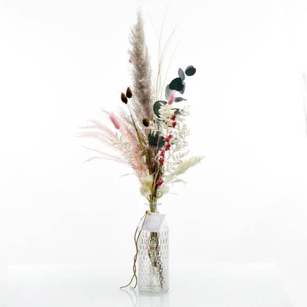 Trockenblumenstrauß Zarte Liebe mit Flaschenvase | weiss-rosa-pastell