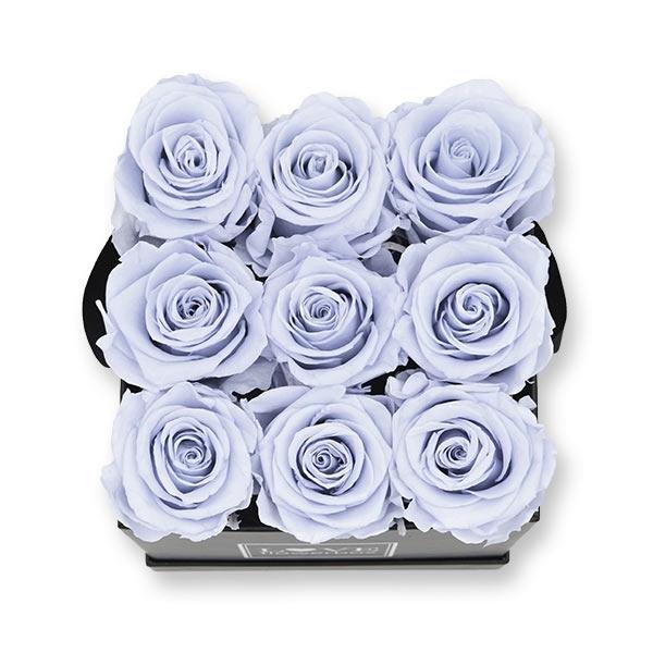 Rosenbox Infinity Rosen lavendel   Flowerbox eckig   M Modern black