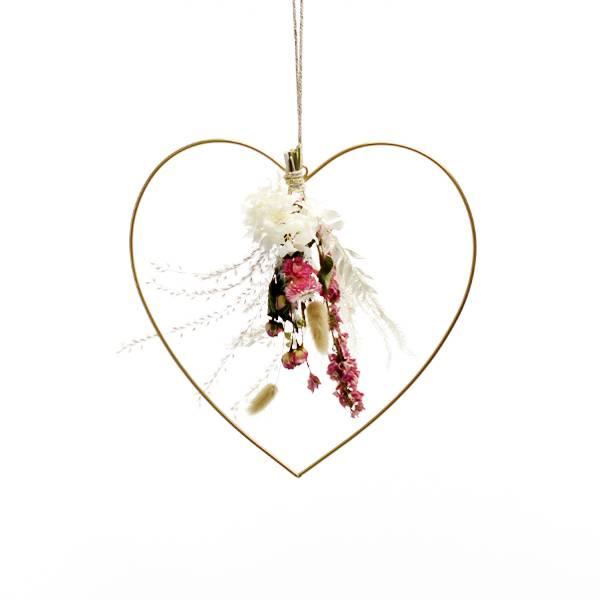 Herz mit Trockenblumenstrauß Traumfarben   gold 30 cm   Trockenblumen weiss-rosa-pink