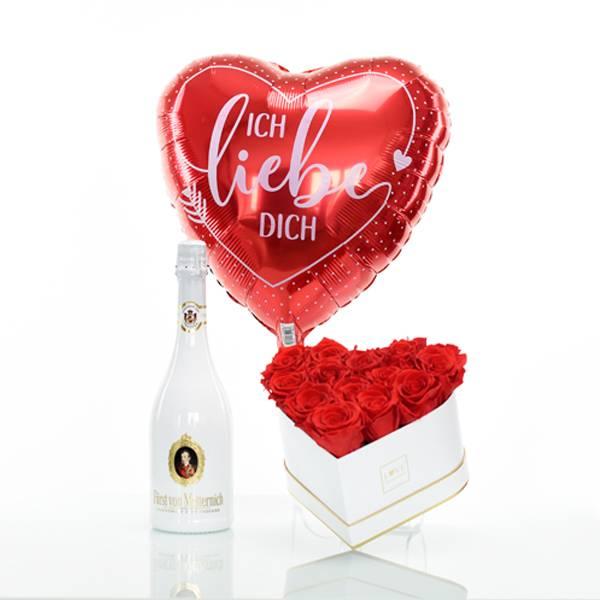 Flowerbox Set Herz | Medium | Rosen Vibrant Red | Heliumballon | Sekt
