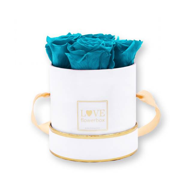 Flowerbox_rosenbox_blumenbox_rund_Small_weiss_gold_Infinity_Rosen_aqua_tuerkis.jpg