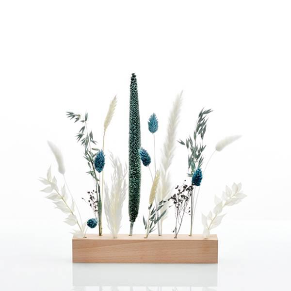Trockenblumen | Blütenleiste | Holzleiste | Eisprinzessin | weiss-eisblau-blau
