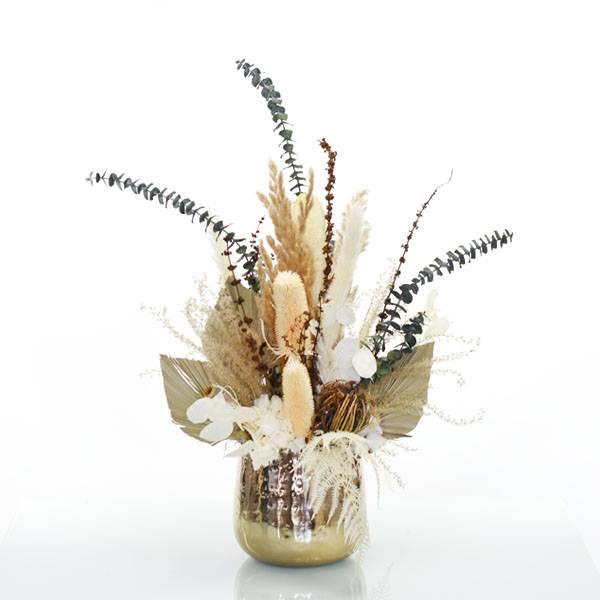 Trockenblumen Gesteck | Metall Topf gold | Natur Pur L | weiss-natur-grün-braun | Pampasgras, Eukalyptus, Ruskus, Disteln, Baumwolle