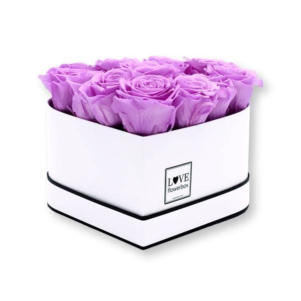Flowerbox Herz   Medium   Rosen Baby Lili (Flieder)
