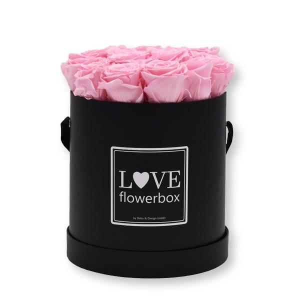 Rosenbox Infinity Rosen rosa | Flowerbox | Blumenbox | Large Modern black