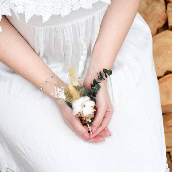 Trockenblumen Anstecker Bräutigam   Hochzeit   Natur Pur   weiss-natur-grün   Eukalyptus, Baumwolle, Ruskus, Lagurus