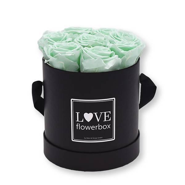 Flowerbox_rosenbox_blumenbox_rund_Medium_schwarz_Infinity_Rosen_mintygreen_mint.jpg