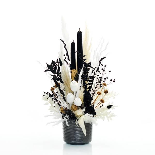 Trockenblumen Gesteck | Keramik anthrazit | schwarz-weiss-natur | Pampasgras, Ruskus, Mohnkapseln, Flachs