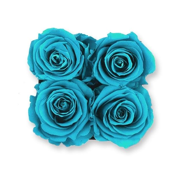 Rosenbox Infinity Rosen türkis   Flowerbox eckig   S Modern white