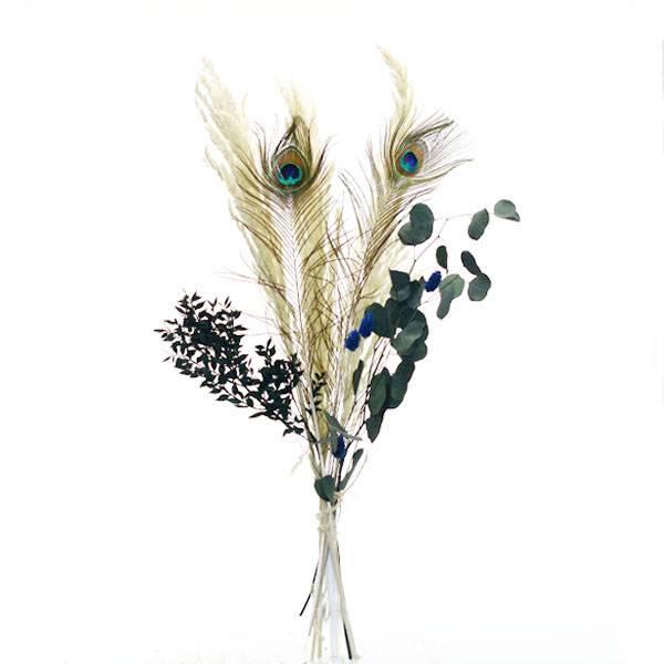 Trockenblumenstrauß Mix | Set Pfauenauge | Trockenblumen natur-grün | Eukalyptus, Eryanthus, Ruskus, Pfauenfeder