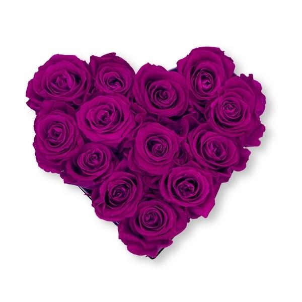 Rosenbox Herz Infinity Rosen lila   Flowerbox Herzbox   M black