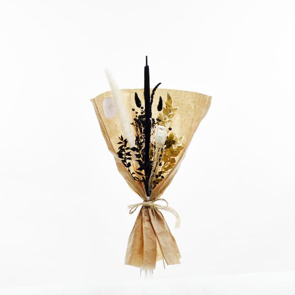 Trockenblumenstrauß Schwarze Eleganz S | Trockenblumen weiss-schwarz-gold