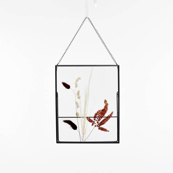 Trockenblumen Bilderrahmen mit gepressten Blumen | Naturromanze | weiss-natur | Lagurus, gräsern, farn