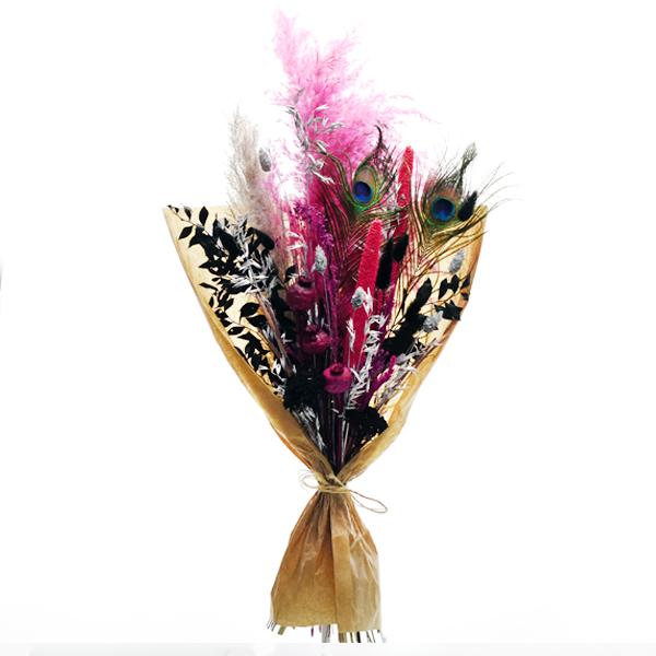 Trockenblumenstrauß Paradiesvogel L | Trockenblumen pink-schwarz