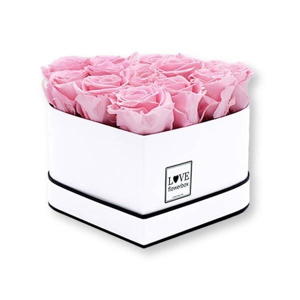 Rosenbox Herz Infinity Rosen rosa | Flowerbox Herzbox | M white