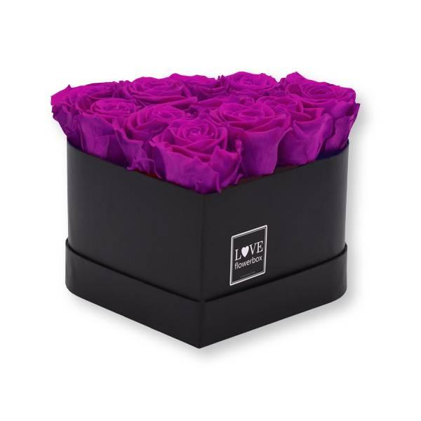 Rosenbox Herz Infinity Rosen lila   Flowerbox Herz   Medium   Rosen Purpur (Lila)