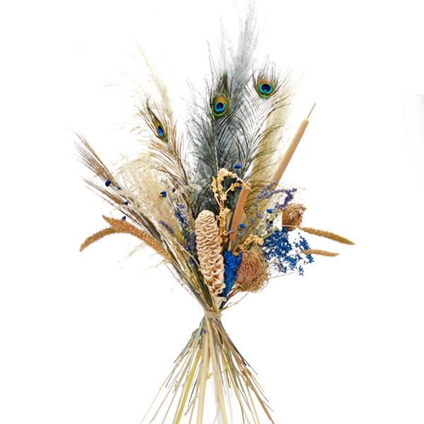 Trockenblumenstrauß Blaue Oase XL | Pampasgras, Pfauenauge, Schilfkolben | Trockenblumen weiss-natur-blau-braun