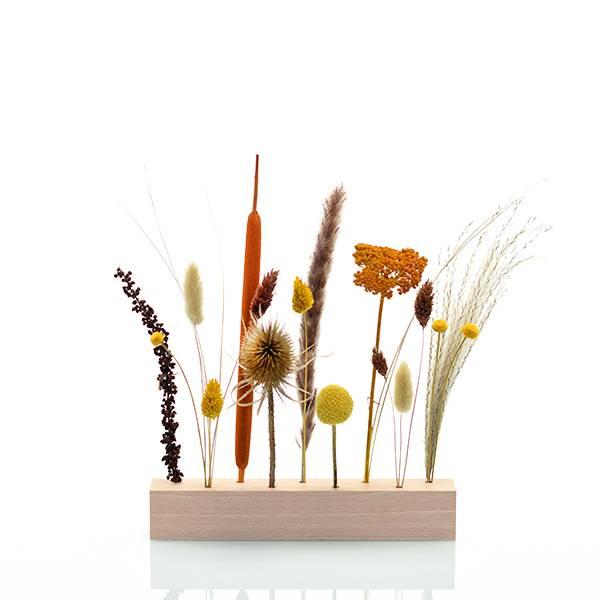 Trockenblumen | Blütenleiste | Holzleiste | Wiesenliebe | natur-gelb-braun