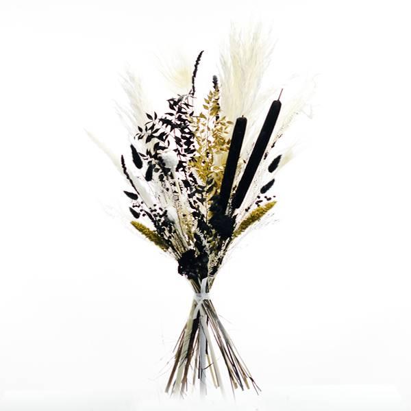 Trockenblumenstrauß Schwarze Eleganz L | Trockenblumen weiss-schwarz-gold