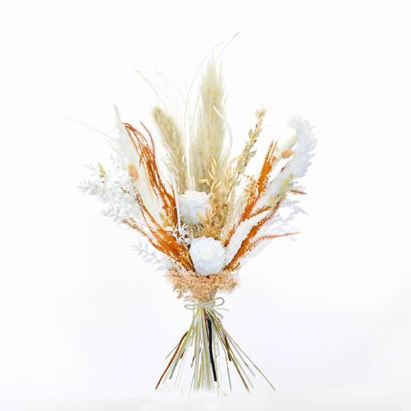 Trockenblumenstrauß Pastellzauber mit Infinity Rosen L | weiss-aprikot