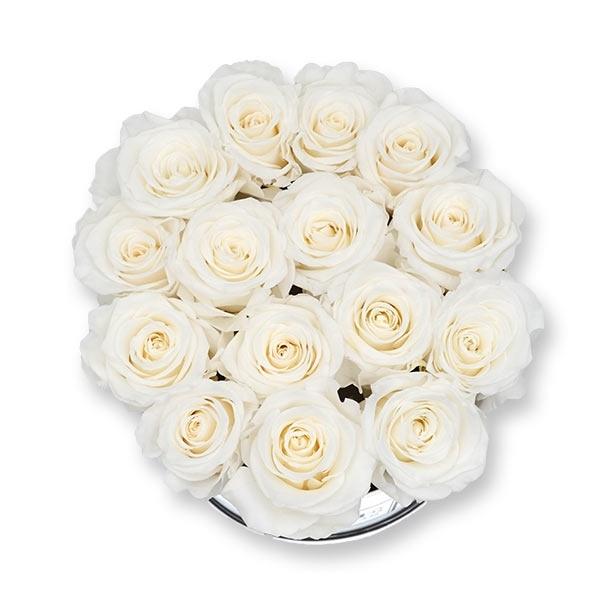 Rosenbox Infinity Rosen weiss   Flowerbox   Blumenbox   L Modern white