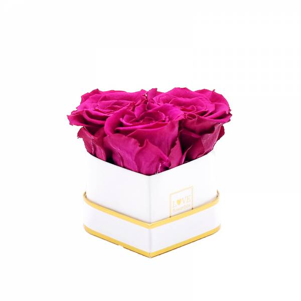 Rosenbox Herz Infinity Rosen himbeere | Flowerbox Herzbox | XS white gold